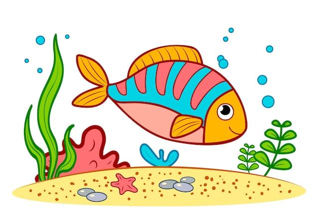 Милая рыба на дне моря. рыба подводный клипарт векторные иллюстрации