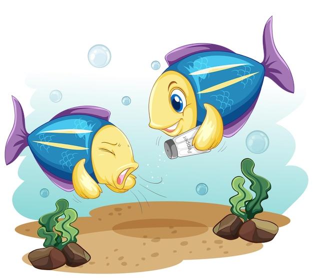 Симпатичная рыба мультипликационный персонаж держит бутылку с солью