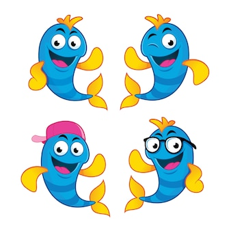 Cute fish cartoon characters