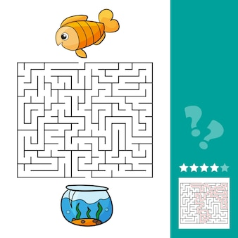 Cute fish educational maze game. vector illustration of labyrinth educational game with cute cartoon fish for children - with solution - help fish get back to the aquarium