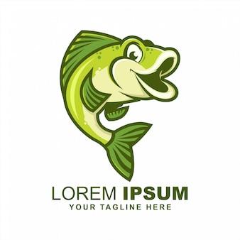 Cute fish jump logo design vector