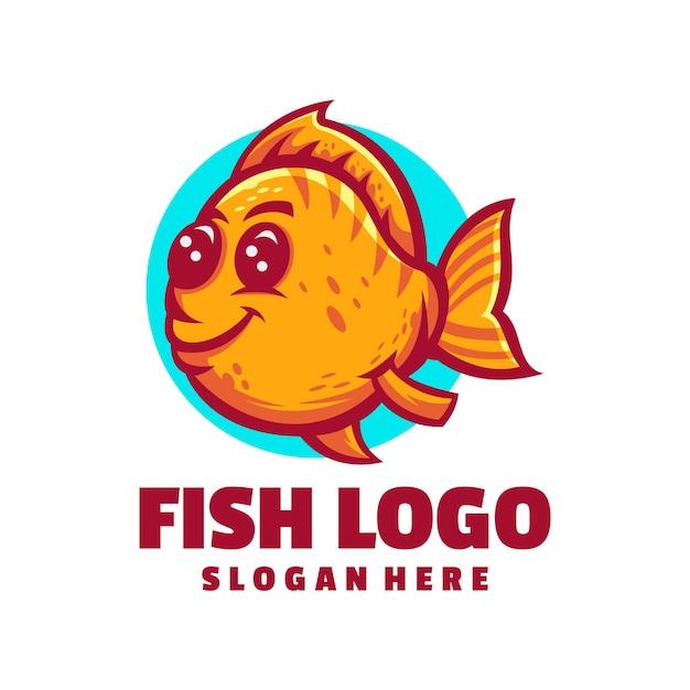 Милый дизайн логотипа рыбы