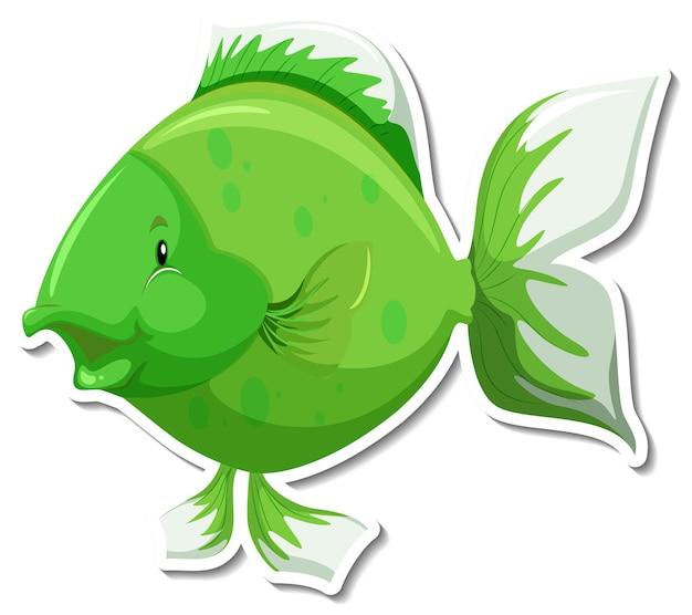 Симпатичная рыба морское животное мультяшный стикер