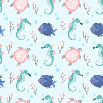 Cute fish sea horse and turtle seamless pattern fabric textile wallpaper.