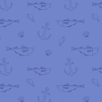 Cute fish seamless pattern
