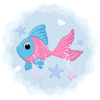 海で泳ぐかわいい魚漫画イラスト