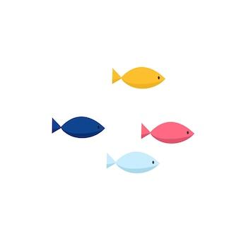 Установленные значки иллюстрации вектора милой рыбы. тропические рыбы, морские рыбы, аквариумные рыбки