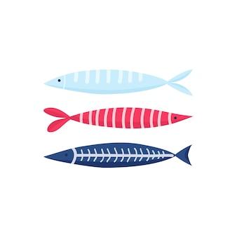 Набор иконок векторные иллюстрации милые рыбы. тропические рыбы, морские рыбы, аквариумные рыбки