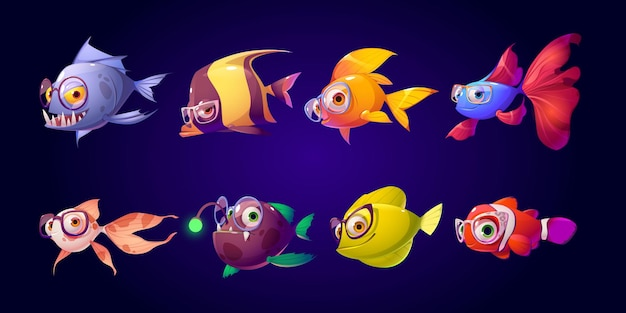 Cute fish with glasses for kid ophthalmologist clinic.