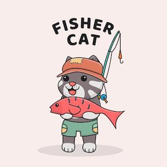 Милый кот рыбака с шляпой и удочкой, держа рыбу