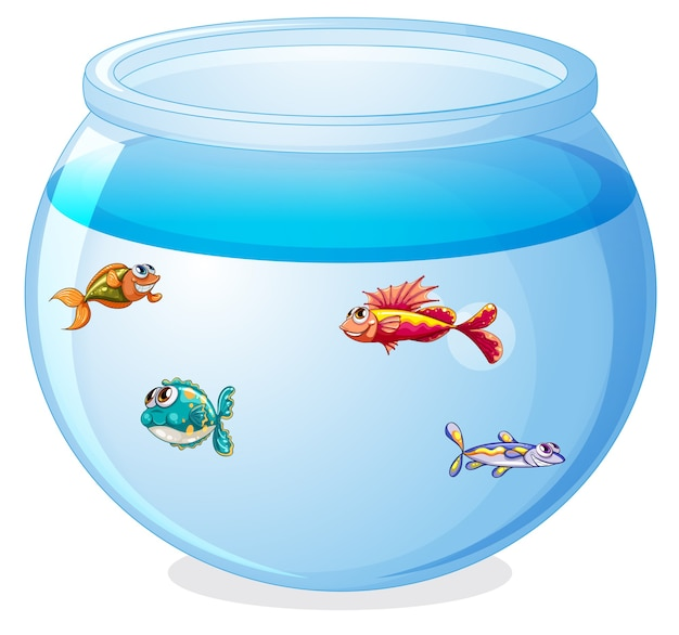 Симпатичные рыбки в мультяшном танке изолированы Бесплатные векторы
