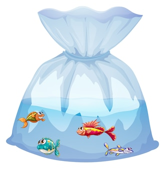 Pesci svegli nel fumetto del sacchetto di plastica isolato