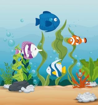 Симпатичные рыбы диких морских животных в океане, обитатели морского мира, милые подводные существа, концепция среды обитания морской