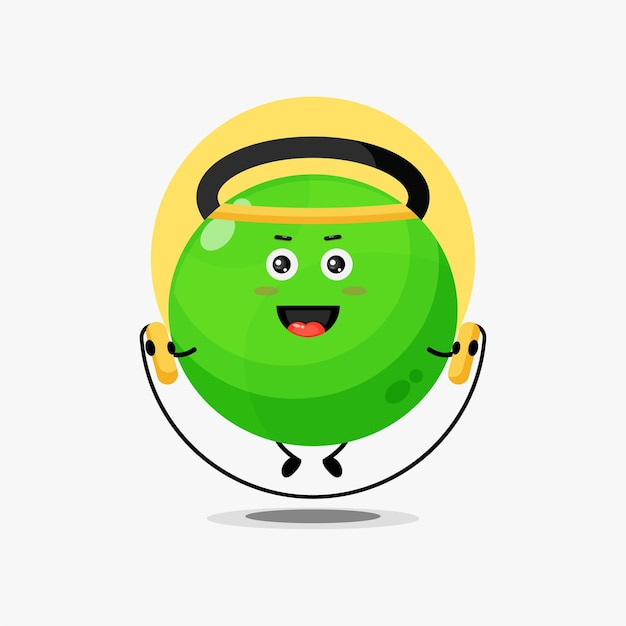 Cute fitness kettlebell character doing jump rope