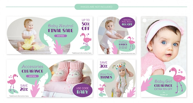 Cute flamingo baby sale banner template set