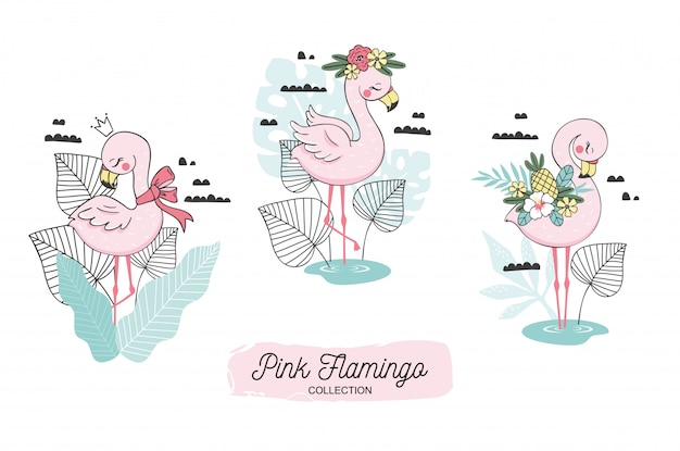 Cute flamingo baby and scarf, blossom, pineapple, crown elements.