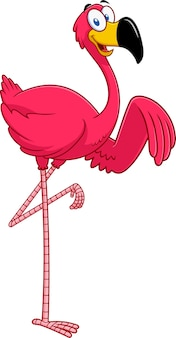 Милый фламинго птица мультипликационный персонаж размахивая.
