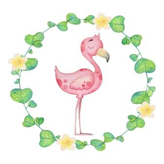 Милый фламинго в цветочной рамке. акварельные иллюстрации