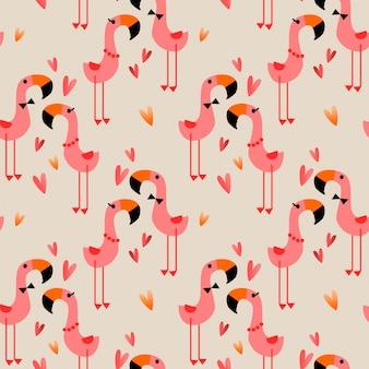 愛のシームレスパターンでかわいいフラミンゴ。