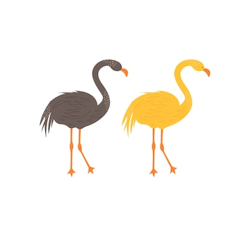 Cute flamingo in scandinavian style. hand drawing vector illustration.