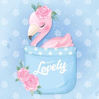 Cute flamingo sitting inside the pocket