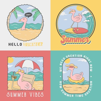 Cute flamingo summer badges collection