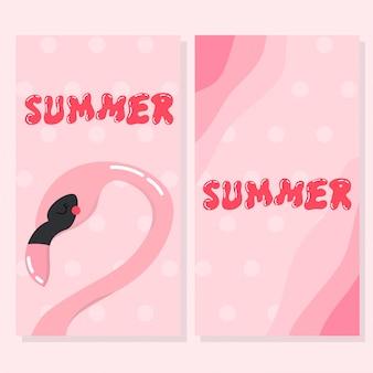 Cute flamingo summer card