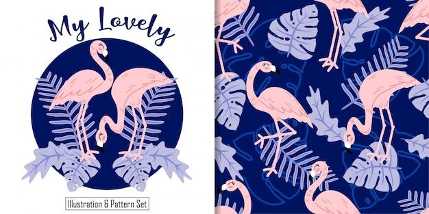귀여운 플라밍고 열 대 잎 손으로 그린 카드 완벽 한 패턴