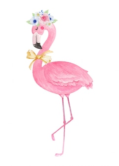 Cute flamingo with flower crown and bow tie ribbon, watercolor hand drawn illustration.