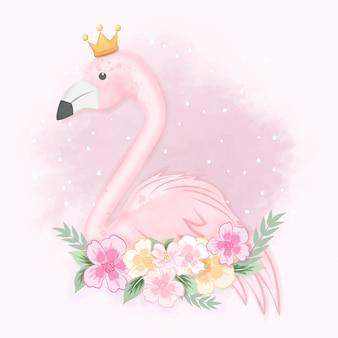 Милый фламинго с цветами