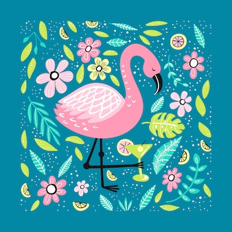 Cute flamingo with hand-drawn elements.