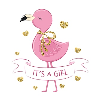 Cute flamingo with phrase it's a girl and hearts.
