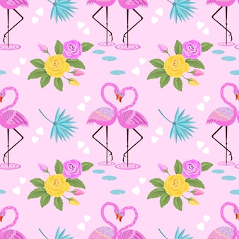 Cute flamingo with rose flower and white hearts on pink background.