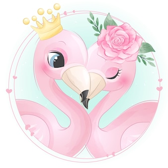 Cute flamingo with watercolor rose