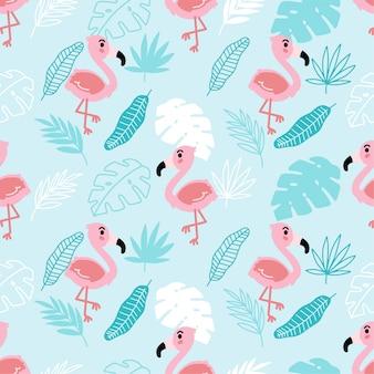 Cute flamingo тропический лето бесшовный узор