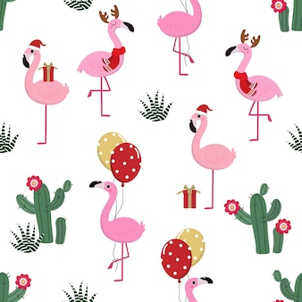 Cute flamingos in christmas seamless pattern