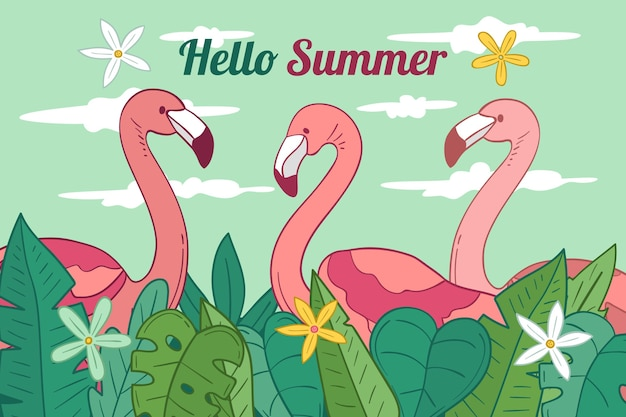 Cute flamingos hand drawn background