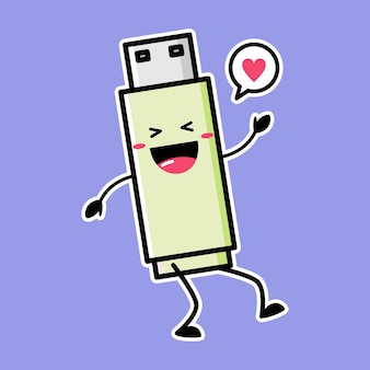 Cute flash disk mascot isolated on purple