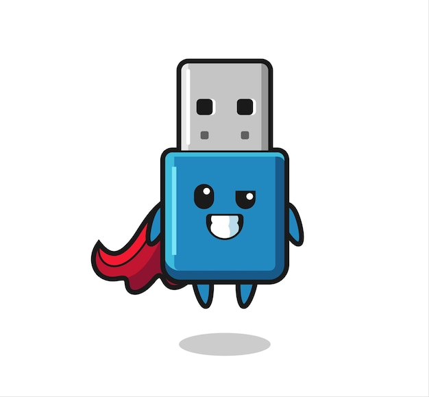 The cute flash drive usb character as a flying superhero , cute style design for t shirt, sticker, logo element