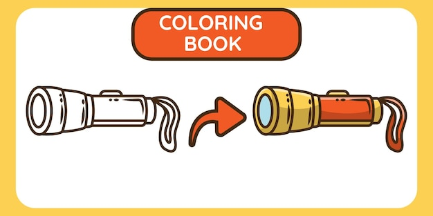 Cute flashlight hand drawn cartoon doodle coloring book for kids