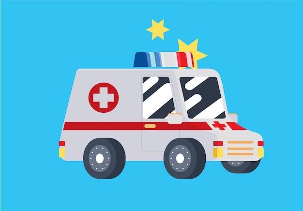 Cute flat ambulance car