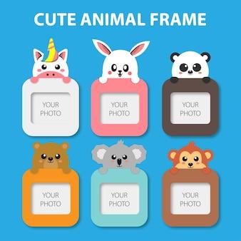 Cute flat animals frames