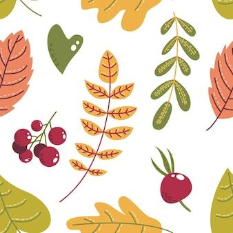 Cute flat autumn leaves seamless pattern background