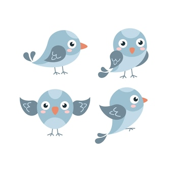 Cute flat blue sparrow collection
