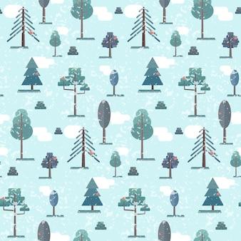 Cute flat blue winter forest trees pattern