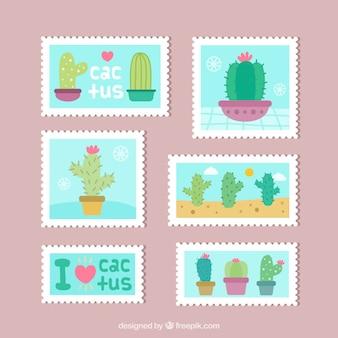 Симпатичные плоские марки кактуса