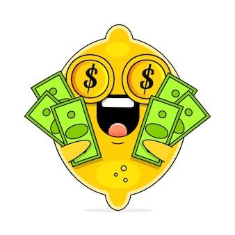 かわいいフラット漫画レモンイラスト。ドル記号と微笑む表現とかわいいレモンのベクトルイラスト。かわいいレモンマスコットデザイン