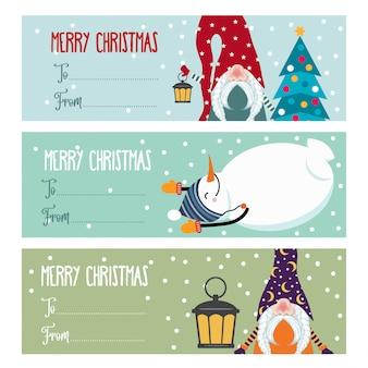 Симпатичная плоская рождественская коллекция этикеток с изолированными снеговиками и гномами