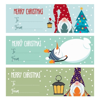 Cute flat  christmas labels collection with snowmen and gnomes isolated