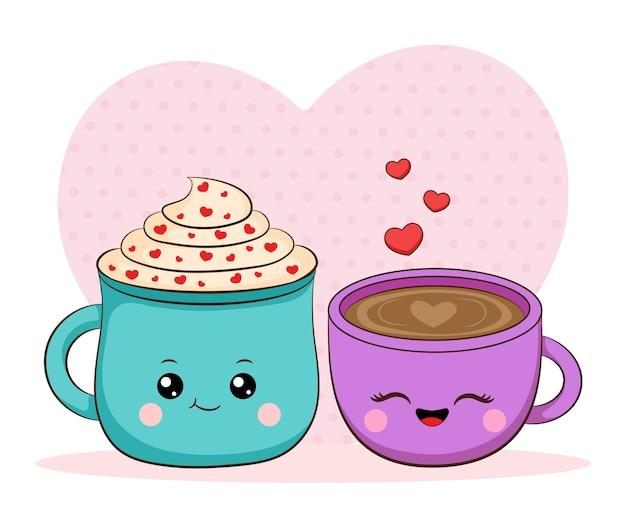 귀여운 플랫 커플 컵 그림 발렌타인 데이